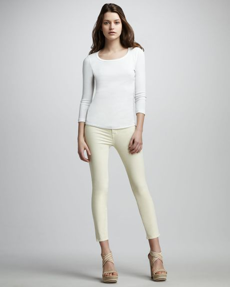 J Brand Luxe Twill Slim Pants  in Yellow (lemon) - Lyst