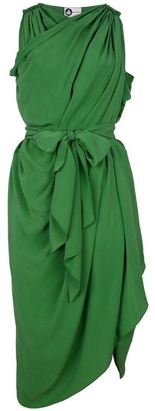 Lanvin Wrap and Drape Dress in Green - Lyst