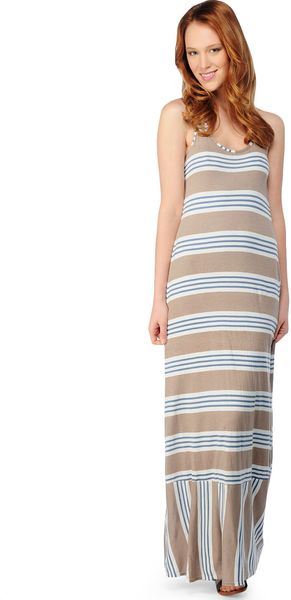 Splendid Palm Stripe Maxi Dress in Brown (almond) - Lyst