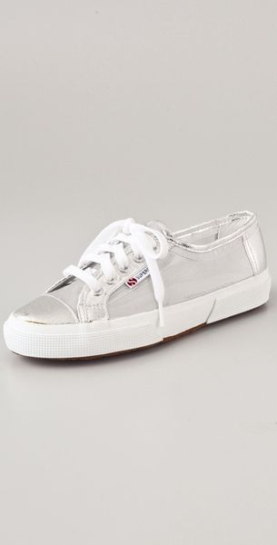 Superga Mesh Metallic Netu Sneakers in Silver - Lyst