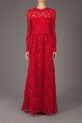 Valentino Crochet Maxi Dress in Red - Lyst