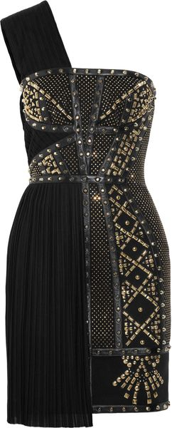 Versace Leathertrimmed Studded Plissé and Scubajersey Dress - Lyst