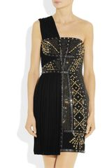 Versace Leathertrimmed Studded Plissé and Scubajersey Dress in Black - Lyst