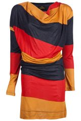 Vivienne Westwood Anglomania Draped Colorblock Dress in Red - Lyst