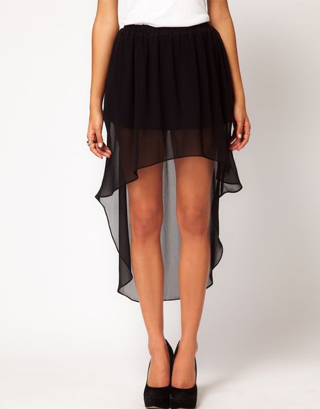 asos chiffon skirt with high low hem in black lyst