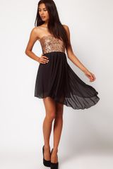 Asos Collection Asos Sequin Bandeau Dress with Chiffon Skirt in Gold (blackgold) - Lyst