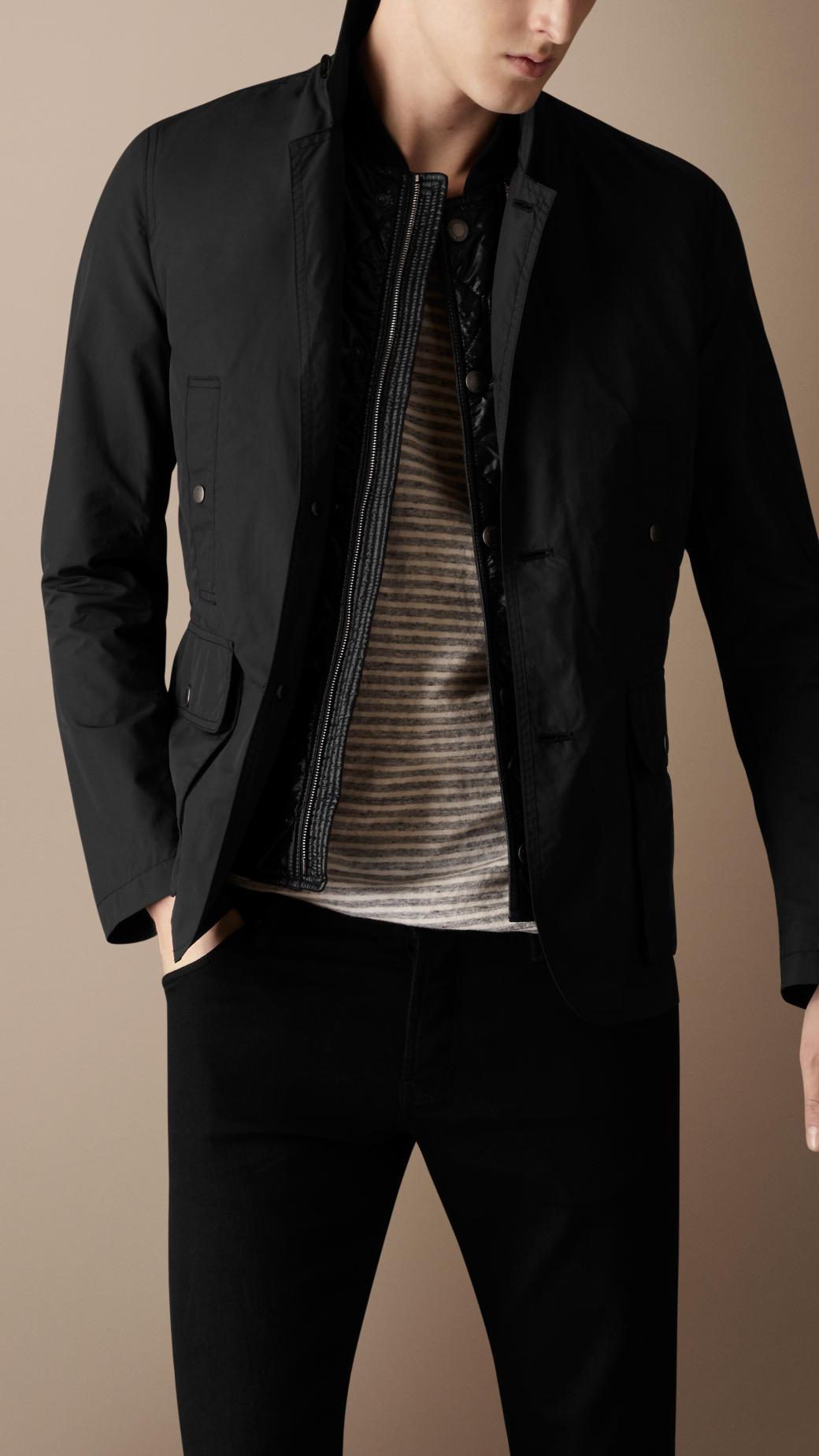 burberry brit showerproof nylon cotton coat in black for men lyst. Black Bedroom Furniture Sets. Home Design Ideas