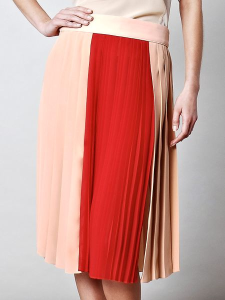 Chloé Pleated Silk Chiffon Skirt in Beige (nude) - Lyst
