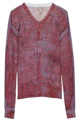 Edun Wrinkle Print Mesh Cardigan in Purple (white) - Lyst