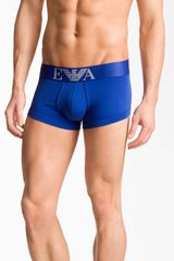 Emporio Armani Stretch Cotton Trunks in Blue for Men (royal blue) - Lyst