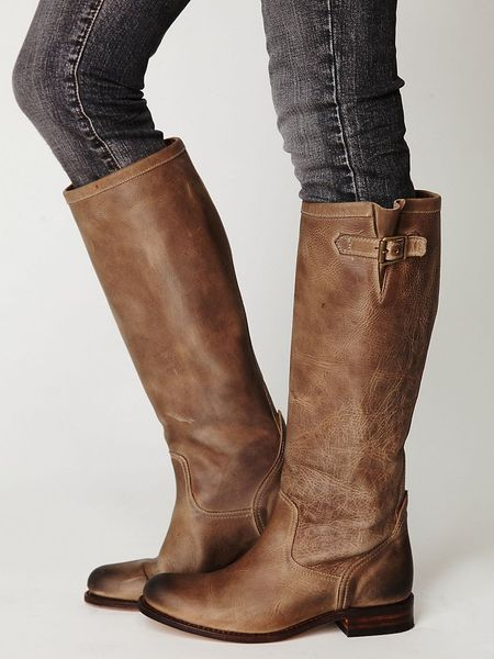 Free People Mercer Tall Boot In Brown Taupe Distress Lyst