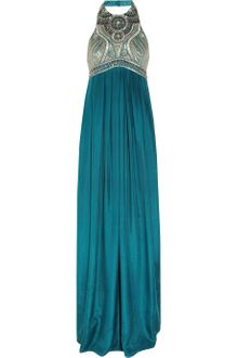 Matthew Williamson Winter Embellished Washed Silk Halter Neck Gown - Lyst