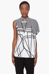 Neil Barrett Tonal Striped Silk Blouse - Lyst