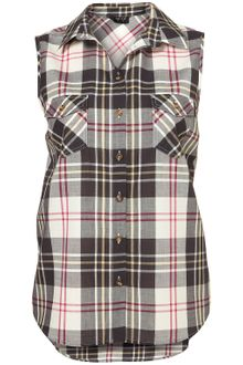 Topshop Sleeveless Check Shirt - Lyst