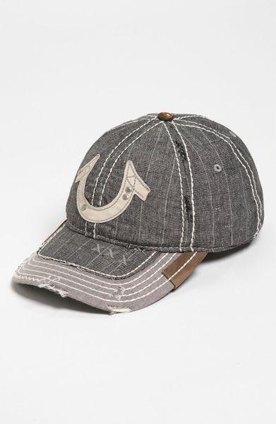 true religion pinstripe baseball cap in black for men lyst. Black Bedroom Furniture Sets. Home Design Ideas