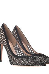 Valentino Net Pumps with Black Leather Embroidery and Swarovski Crystals in Black - Lyst