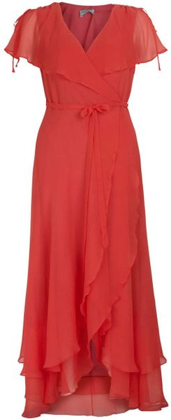 Almost Famous Chiffon Wrap Maxi in Red (coral) - Lyst