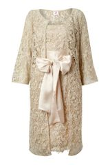 Anoushka G Emma Lace Cut Out Jacket and Dress in Gold - Lyst