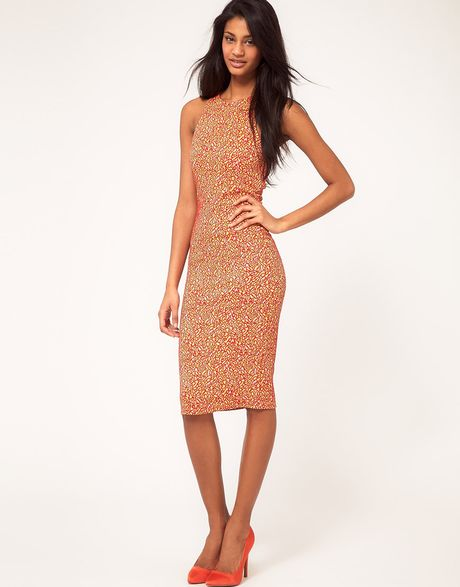 Asos Asos Midi Sleeveless Bodycon in Red (redyellow) - Lyst