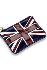 Aspinal Brit Mini Flat Cosmetic Pouch in Blue (union jack) - Lyst
