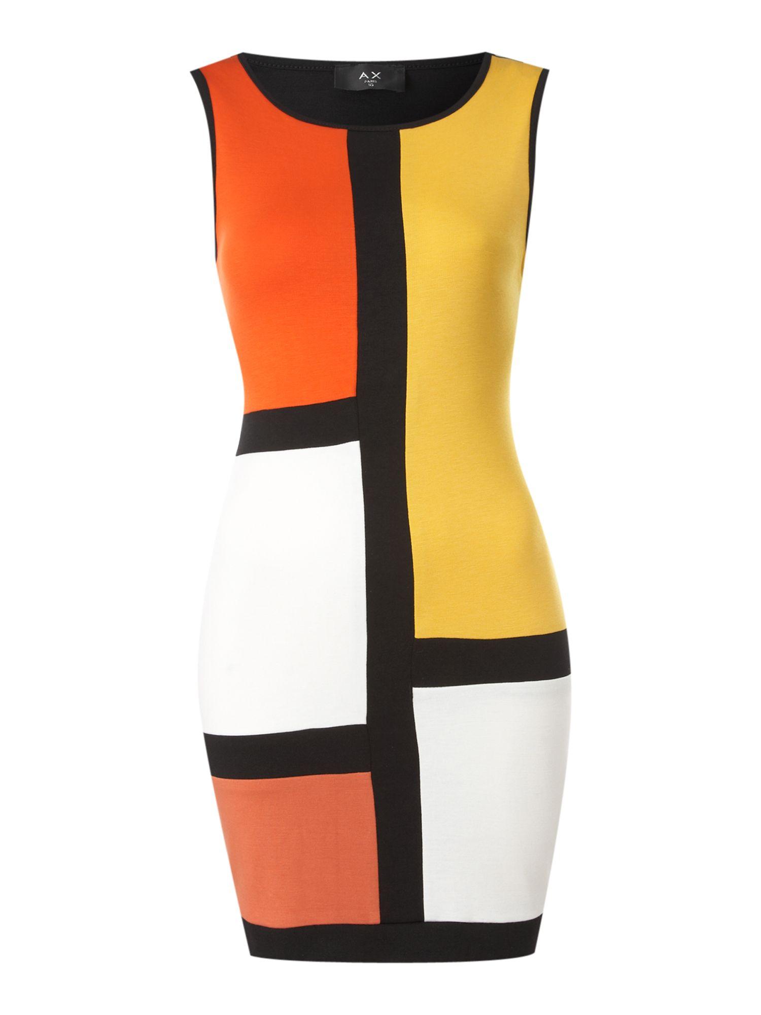Ax Paris Colour Block Dress In Yellow Black Lyst