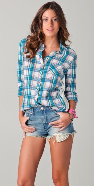 C&c California Joshua Plaid Rib Roll Sleeve Shirt in Blue - Lyst