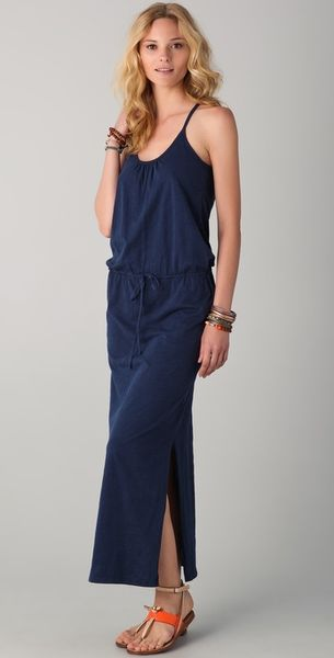 C&c California Slubbed Jersey Maxi Dress in Blue (navy) - Lyst