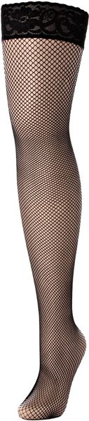 Charnos Fishnet Hold Ups in Black - Lyst