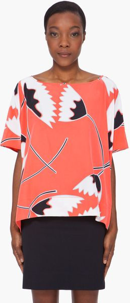 Diane Von Furstenberg Red Silk Cape Blouse in Orange (red) - Lyst