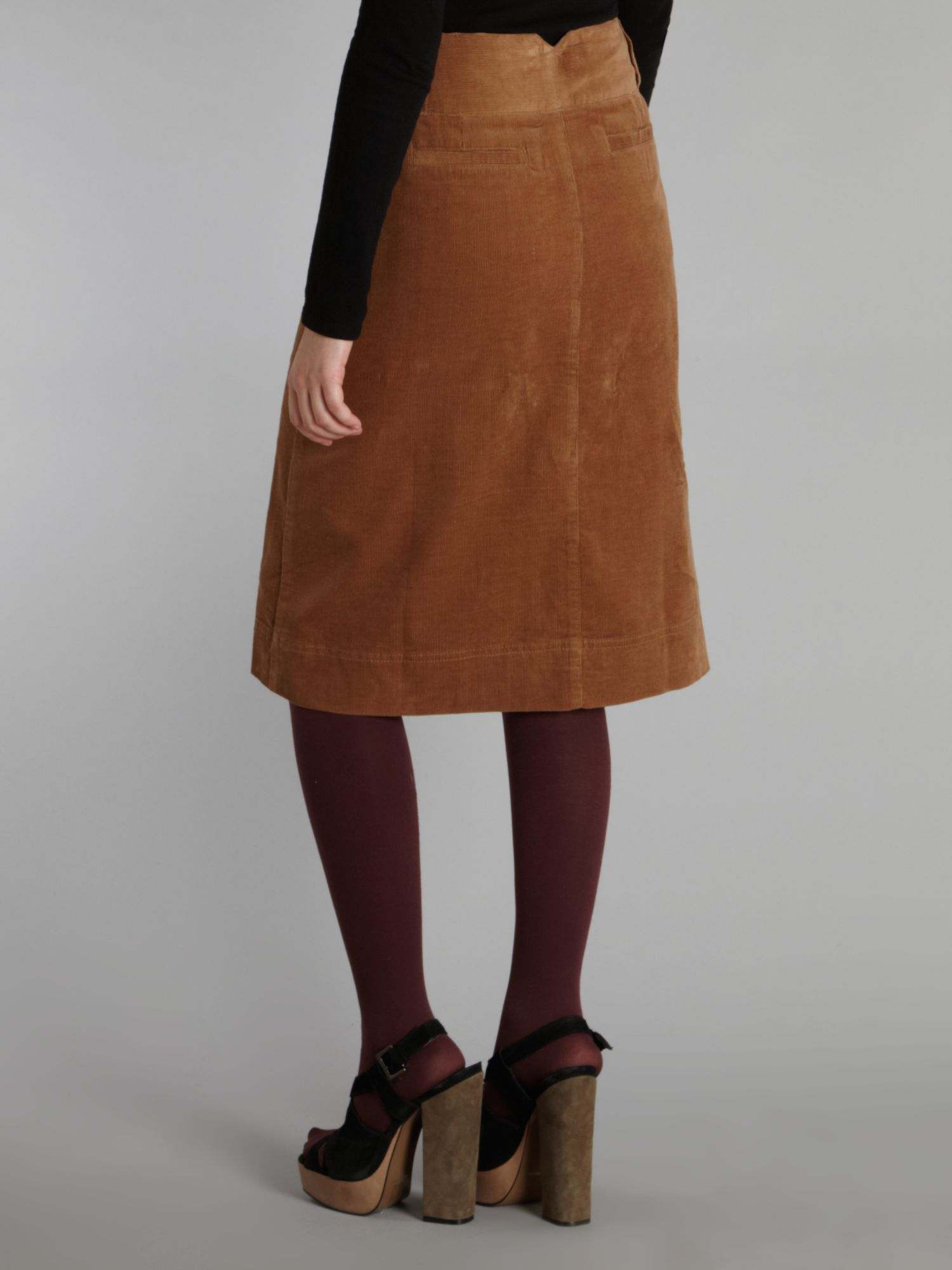 Dickins & jones Midi Button Through Cord Skirt in Brown | Lyst