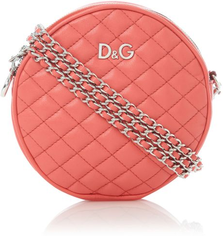 Dolce & Gabbana Quilted Round Mini Shoulder Bag in Pink