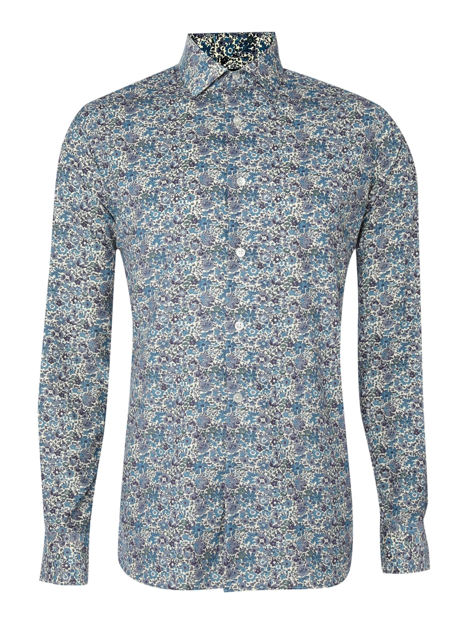 Duchamp Printed Cord Long Sleeved Formal Shirt In Blue For Men | Lyst