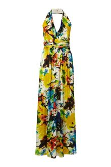 Ellen Tracy Halter Neck Tropical Print Maxi Dress - Lyst