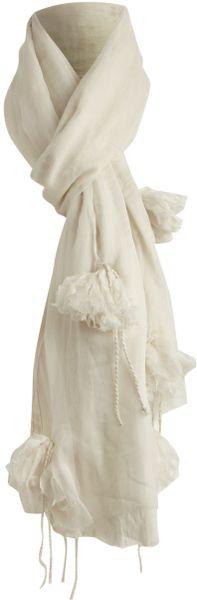erfurt scarf with applique flower pom poms in white lyst