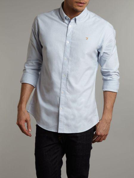 Farah slim fit oxford shirt in blue for men sky blue lyst for Mens blue oxford shirt