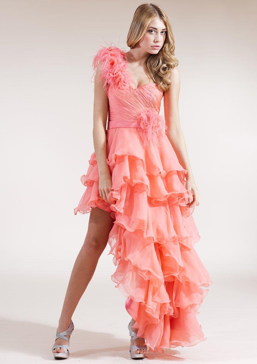 Forever Unique Paloma One Shoulder Ruffle Dress In Orange