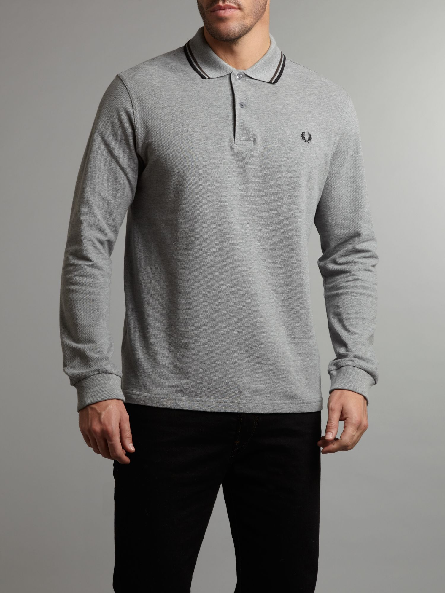 fred perry twin tipped long sleeve polo shirt in gray for
