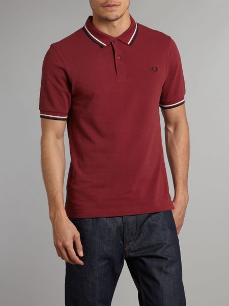 fred perry slim fit twin tipped polo shirt in red for men. Black Bedroom Furniture Sets. Home Design Ideas