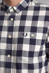 Fred Perry Long Sleeve Linen Gingham Shirt in Blue for Men (navy) - Lyst