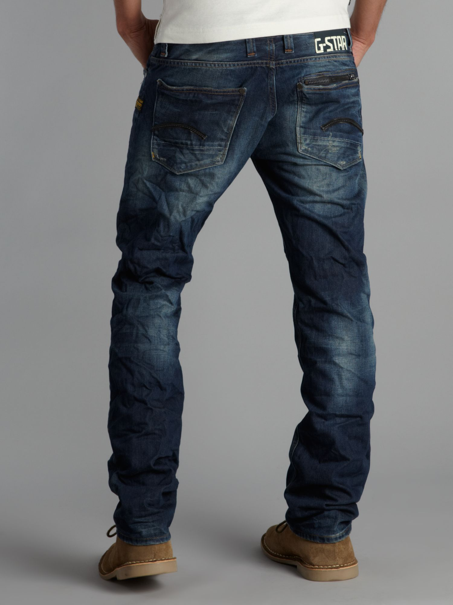 g star raw straight fitted attacc jeans in blue for men lyst. Black Bedroom Furniture Sets. Home Design Ideas