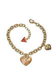 Guess Gold Plated Crystal Heart Bracelet - Lyst