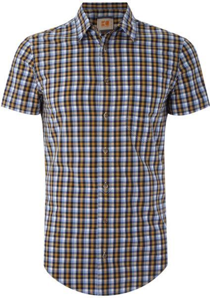 Hugo boss gingham short sleeved shirt in gray for men for Mens yellow gingham shirt