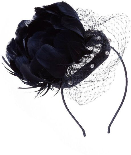 Jacques Vert Monique Pearl Trim Fascinator in Black (navy) - Lyst