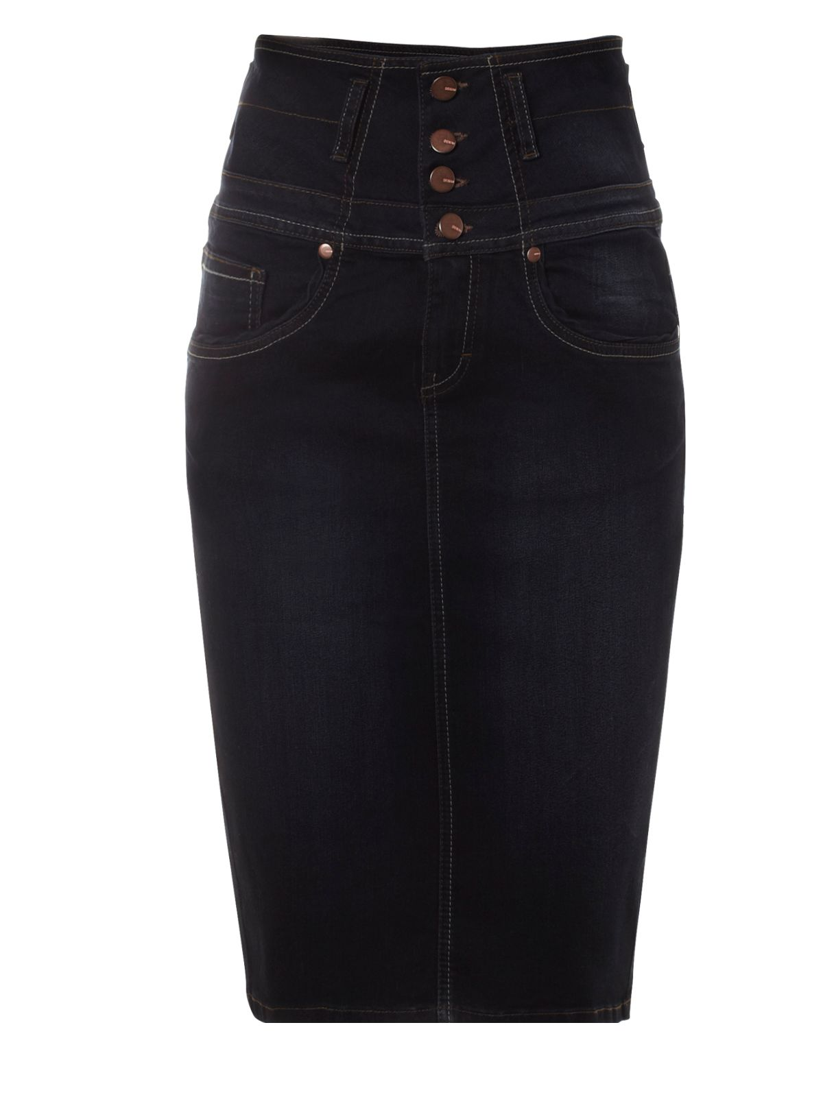 high waisted denim pencil skirt jane norman high waisted denim pencil skirt in blue lyst 9521