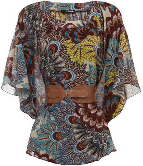 Jane Norman Peacock Paisley Belted Kimono in Gray (multi-coloured)
