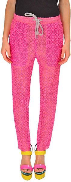 Jo No Fui Lace Jogging Pants in Pink