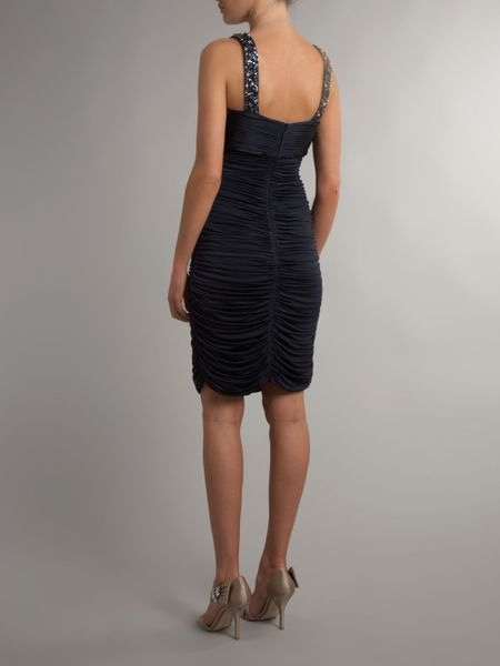 Js Collections Jewel Scoop Side Ruched Dress In Blue Navy