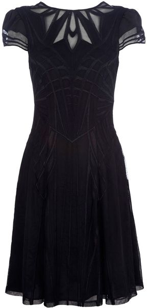 Karen Millen Geometric Embroidery Dress - Lyst