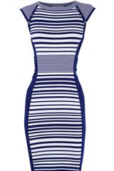 Karen Millen Striped Knit Collection Dress in Blue - Lyst