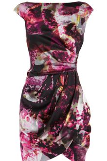 Karen Millen Modern Smudged Print Silk Dress - Lyst